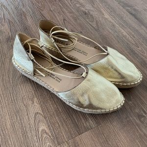 Fabiolas Gold Leather Espadrilles